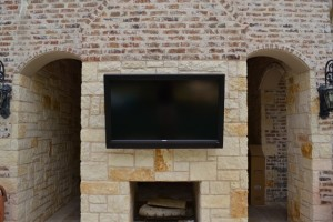 Pool-facing mounted TV
